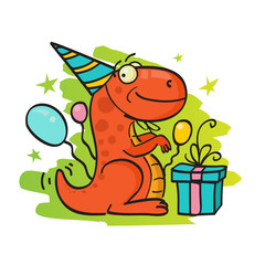 Greeting card with dinosaur