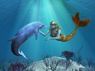 Photo sur Aluminium Mermaid Mermaid with Dolphin Undersea