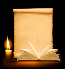 Background with old paper, book and a candle. Vector.