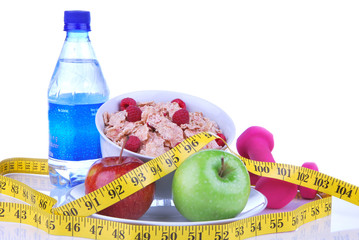 Diet weight loss, workout, measure healthy food