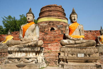 Buddha sculpture at Yai Chaiyamongkol Temple Ayutthaya Thailand