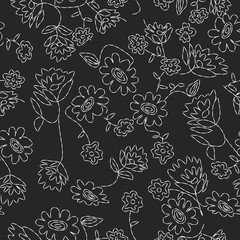 Stitched Floral Seamless Pattern