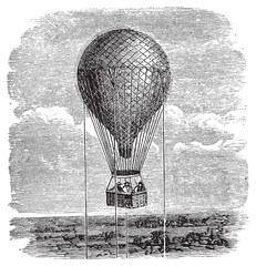 Old aerostat or hot air balloon vintage illustration.