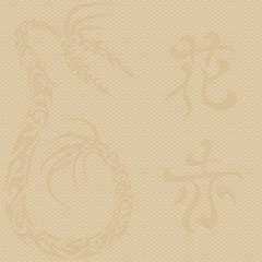 Chinese dragon and hieroglyphs