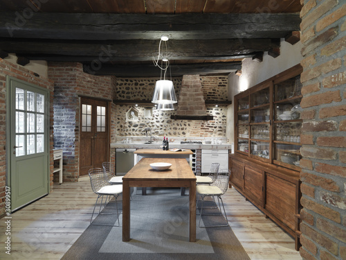 """Cucina con mobili moderni con muri di pietra"""" immagini e ..."""