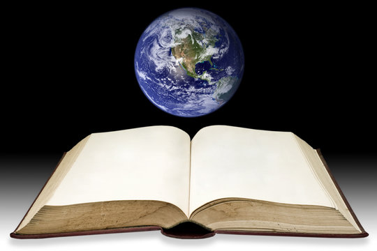 Old book with the earth