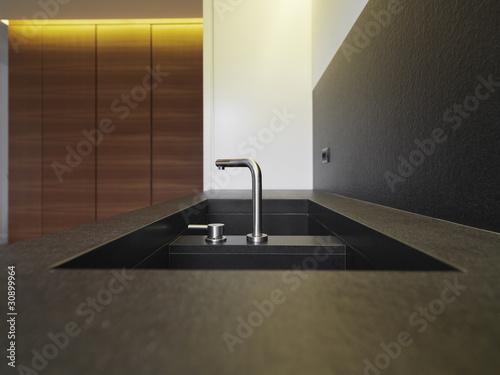 Lavello in marmo nero con rubinetto acciaio in cucina for Cucina moderna abbonamento