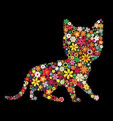vector floral kittens