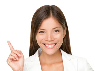 Leinwandbilder - Pointing up woman
