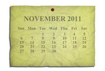 Calendar november 2011 on old Crumpled paper