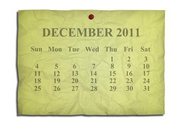 Calendar december 2011 on old Crumpled paper
