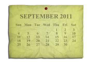 Calendar september 2011 on old Crumpled paper