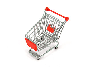 shopping carts over white background