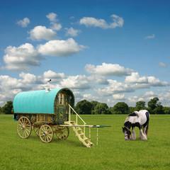 Wall Mural - Old Gypsy Caravan, Trailer, Wagon with Horse