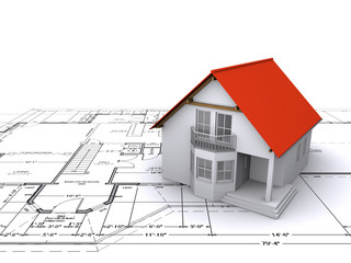house against background of engineering drawings