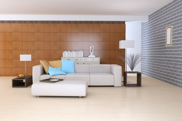 3D contemporary sitting room