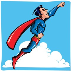 Poster Superheroes Cartoon Superhero flying up and away