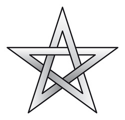 Pentagram, pentalpha, pentangle, star pentagon, the shape of a five-pointed star drawn with five straight strokes. Illustration on white background. Vector.