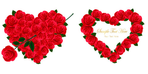 Composition of two red hearts and flowers. Vector.