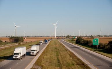 Wind turbine and highway
