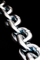 closeup of steel chain links