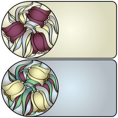 Decor glass card with flowers