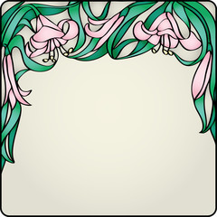 Decor glass card with lilies
