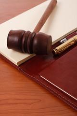 Judge hammer on desk