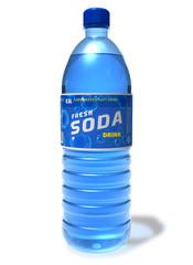 Refreshing soda drink in plastic bottle