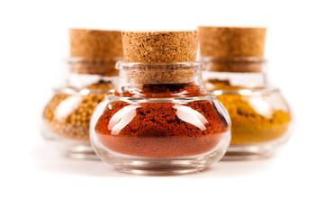 internationale Gewürze mit Paprika im Vordergrund