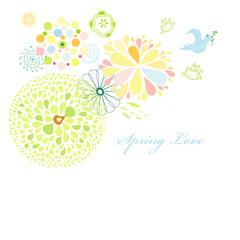 Spring postcard with birds