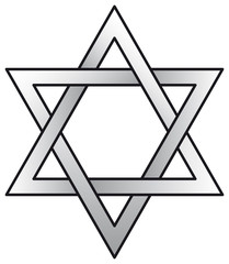 Hexagram. Six-pointed geometric star figure, compound of two equilateral triangles. The intersection is a regular hexagon. Illustration.