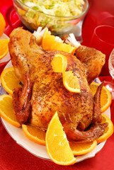 roasted whole chicken with oranges