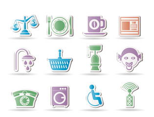 Roadside, hotel and motel services icons  - vector icon set