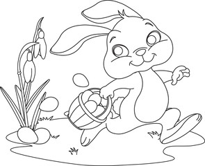 Easter Bunny Hiding Eggs. Coloring page