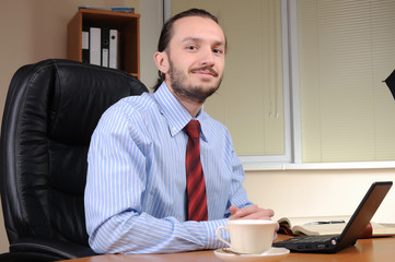 young business man working in an office