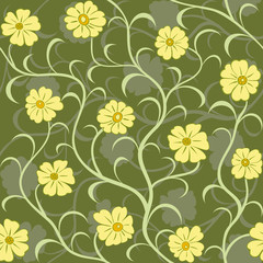 yellow flower swirl seamless background pattern