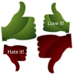 Love it Hate it Thumbs