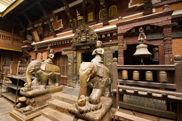 Elephants and Hindu Deity at Patan Durbar Square.