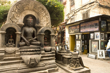 Granite Buddha  at  Swayambunath .