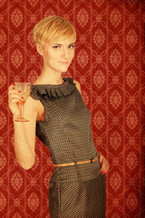 retro picture beauty young woman blonde with glass