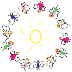 lot of fun colorful fairy flies around the sun