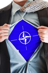 NATO flag on shirt