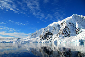 view of antarctic landscape, sunny skies