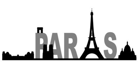 Paris Skyline Schriftzug
