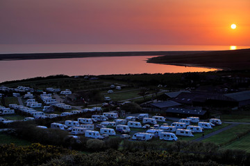 Amazing sunset over caravan park in Dorset England