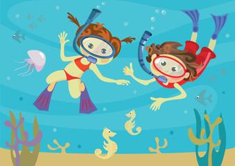 Poster Voor kinderen children and the sea