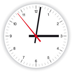 Illustration of a clock face, dial, as part of an analog clock, watch, with black and red pointers. Isolated on white background.