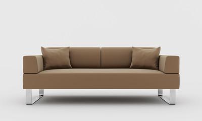 Biege modern sofa isolated