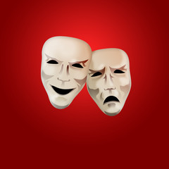 Comedy and Tragedy Mask on Red Background